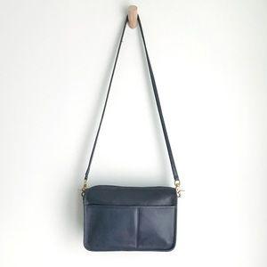 1980s COACH Companion Navy Leather Crossbody Bag